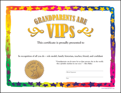 Download Grandparents Are VIPs Color Certificate