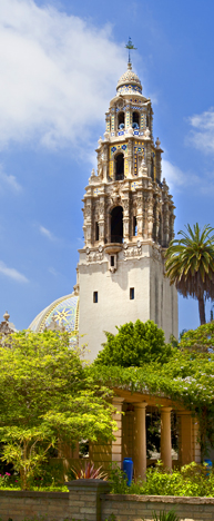 A symbol of San Diego, the iconic California Tower has served as an entry to Balboa Park since its construction for the 1915 Panama-California Exposition. The tower bells chime every quarter hour.
